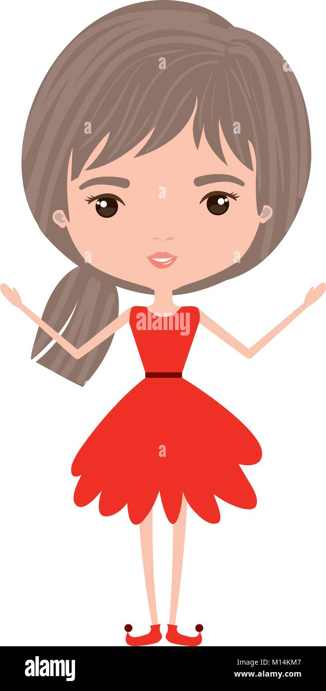 Girly Fairy Without Wings And Light Brown And Grey Hair In Red Dress