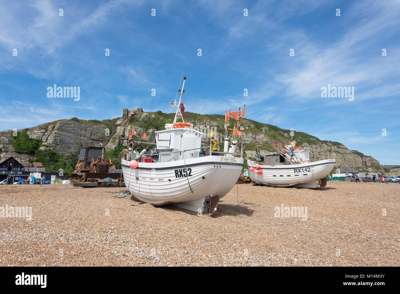 Fishing boats on Rock-a-Nore Beach, Hastings, East Sussex, England, United Kingdom - Stock Image