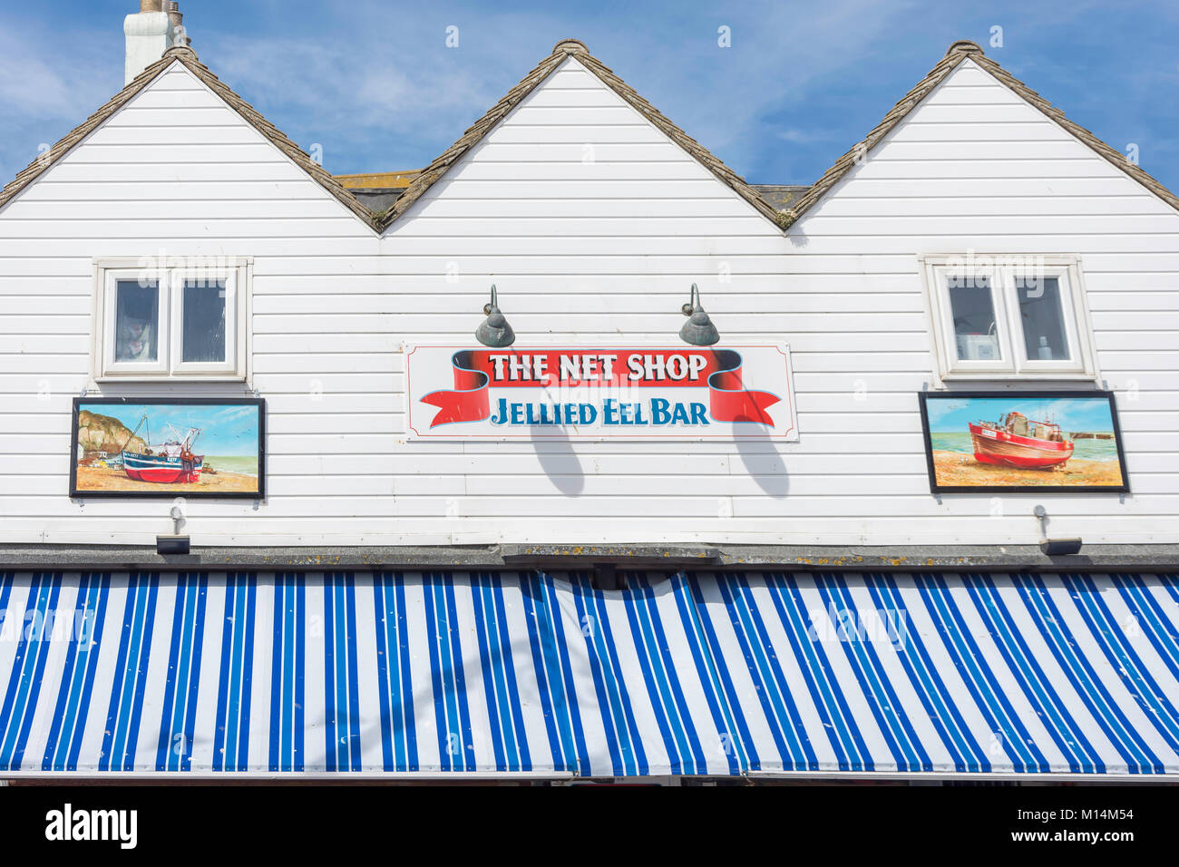 The Net Shop Jellied Eel Bar, Rock-a-Nore Road, Hastings, East Sussex, England, United Kingdom - Stock Image