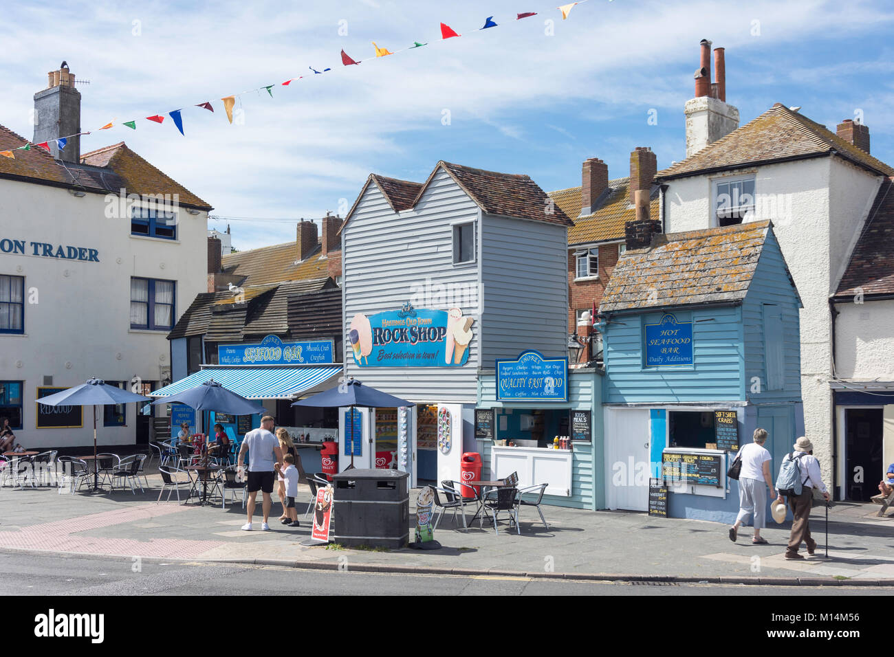 The Rock Shop seafood bar, Hastings Old Town, East Beach Street, Hastings, East Sussex, England, United Kingdom - Stock Image