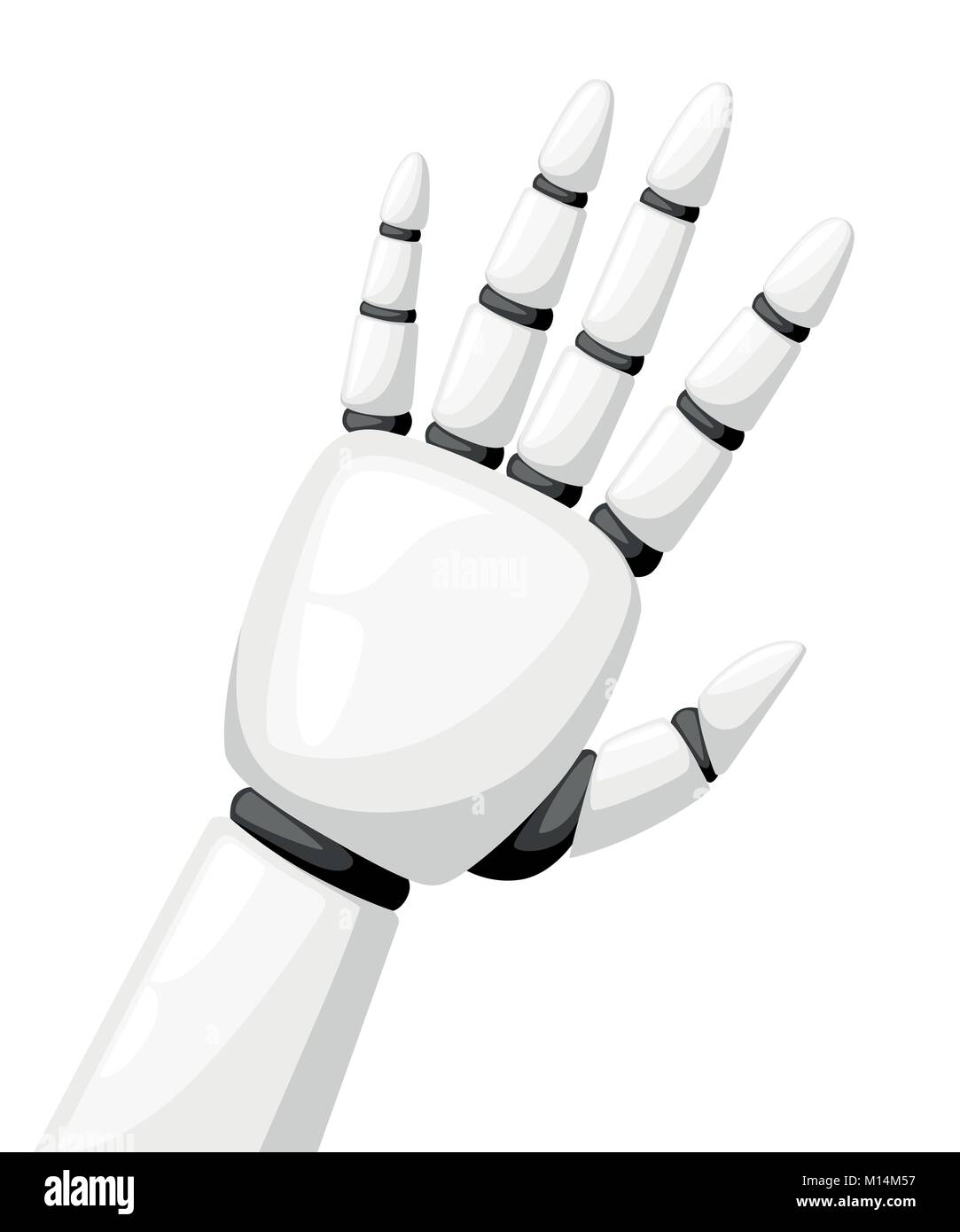 White robot hand or robotic arm for prosthetics vector