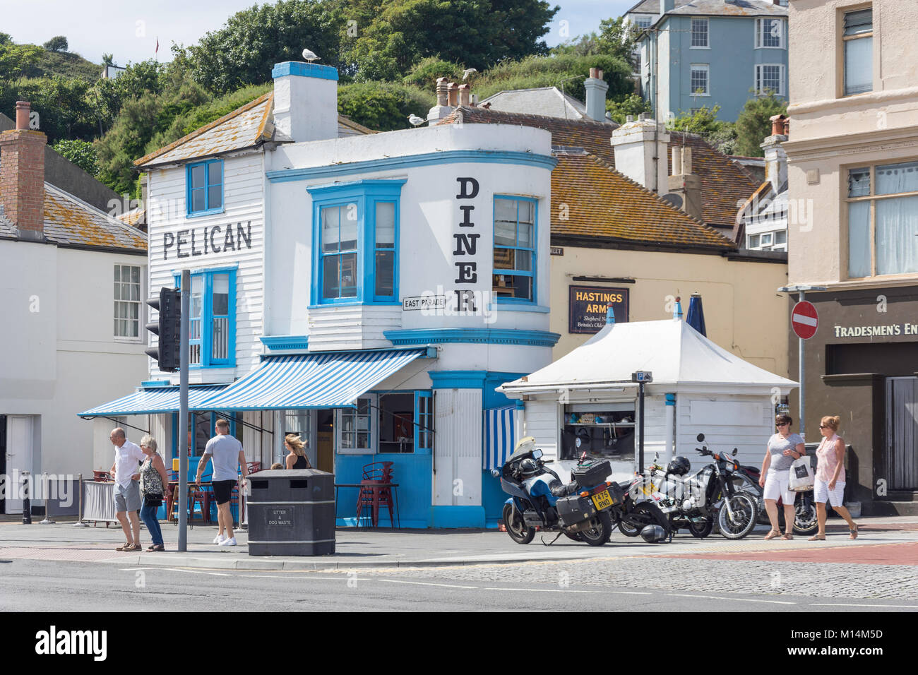 The Pelican Diner, Hastings Old Town, East Parade, Street, Hastings, East Sussex, England, United Kingdom - Stock Image