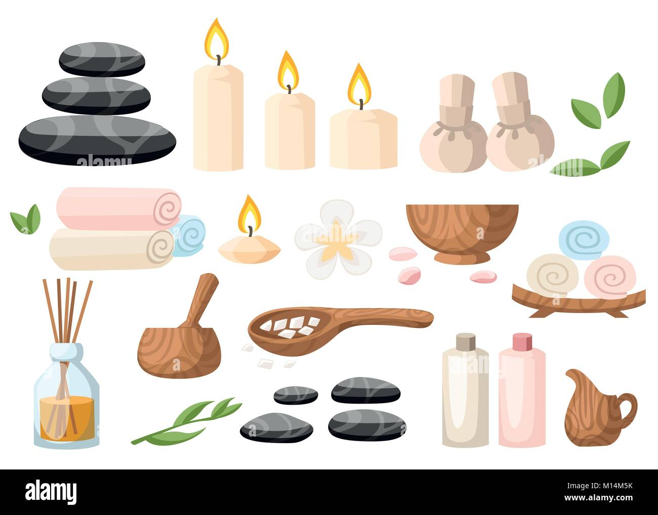Colorfull spa tools and accessories black basalt massage stones herbs mortar rolled up towel oil gel and candles - Stock Vector