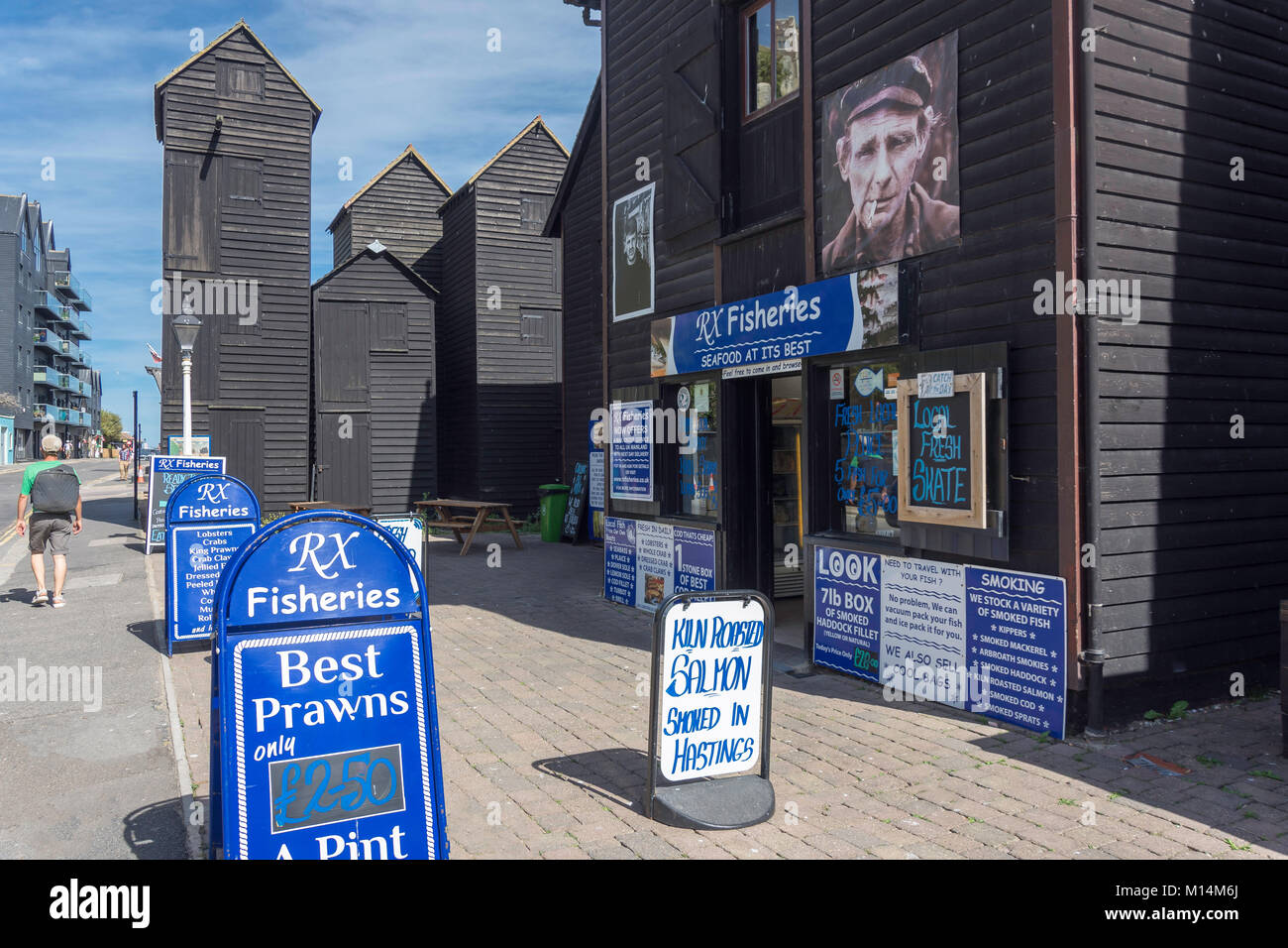 RX Fisheries fish availabity boards, Hastings Old Town, Rock-a-Nore Road, Hastings, East Sussex, England, United - Stock Image