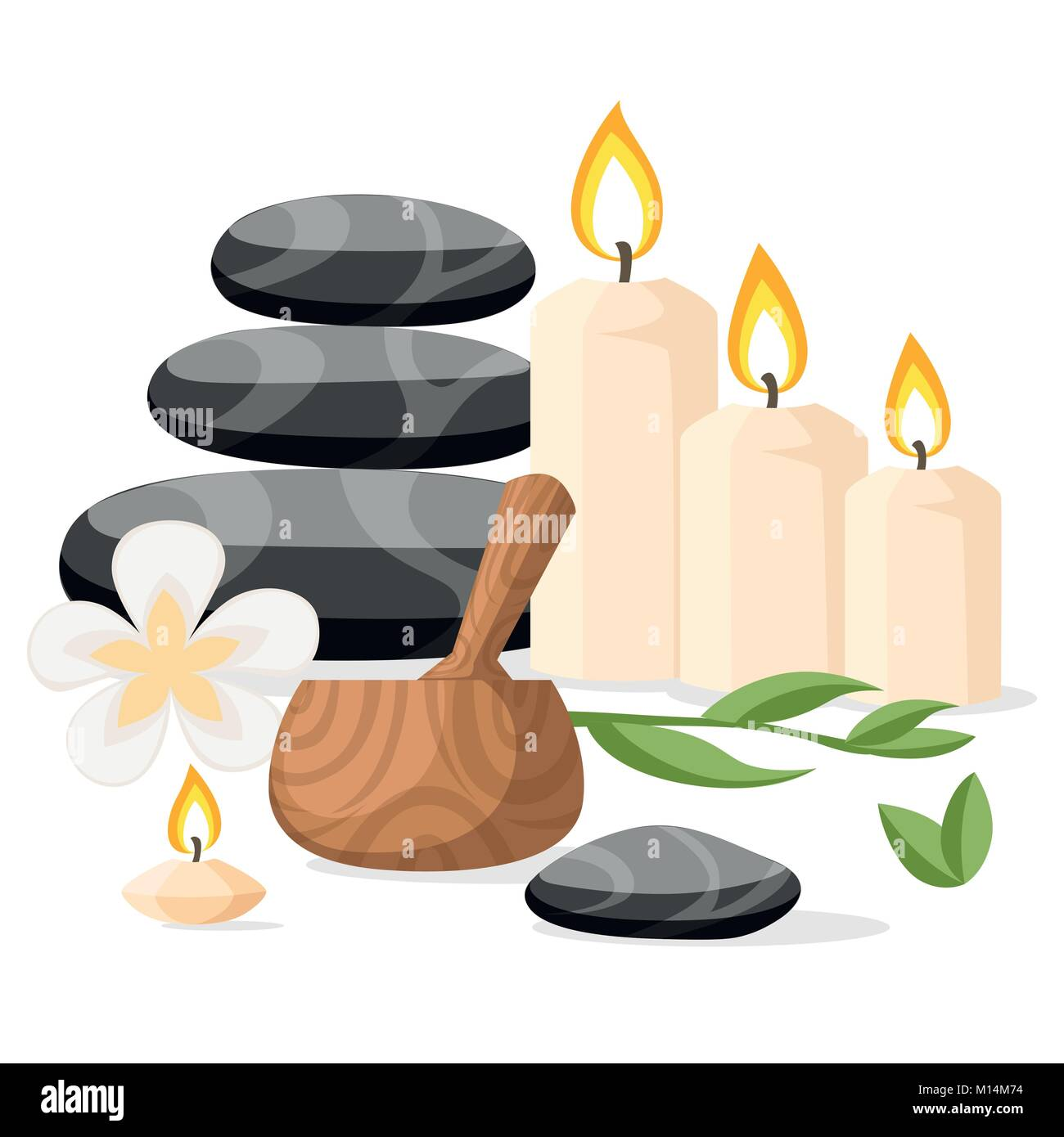 Colorfull spa tools and accessories black basalt massage stones herbs mortar and candles vector illustration isolated - Stock Vector