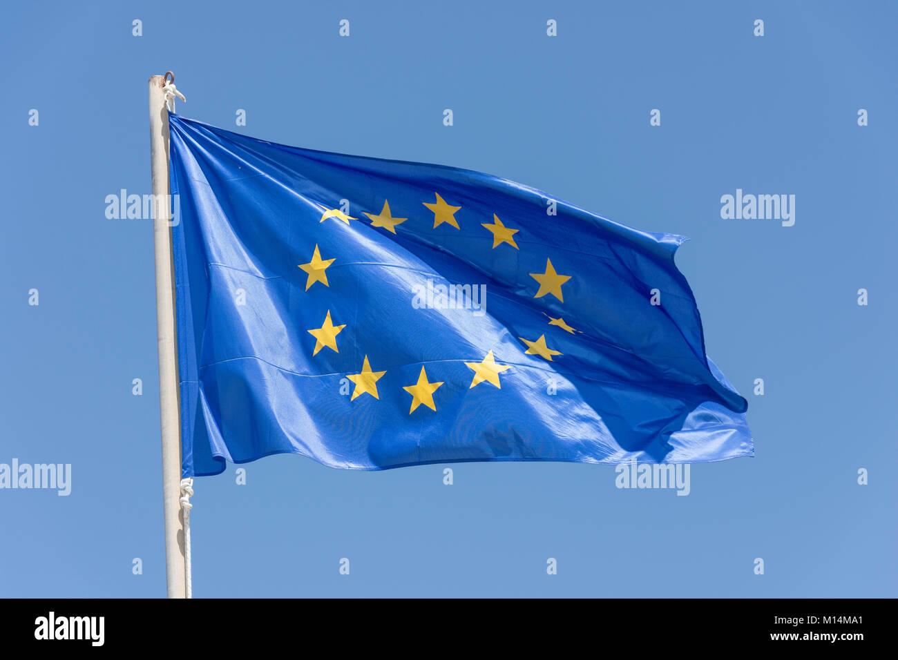 European Union flag (Flag of Europe), Ikarus Beach, Ikarus Beach, Rethymnon (Rethimno), Rethimno Region, Crete (Kriti), - Stock Image