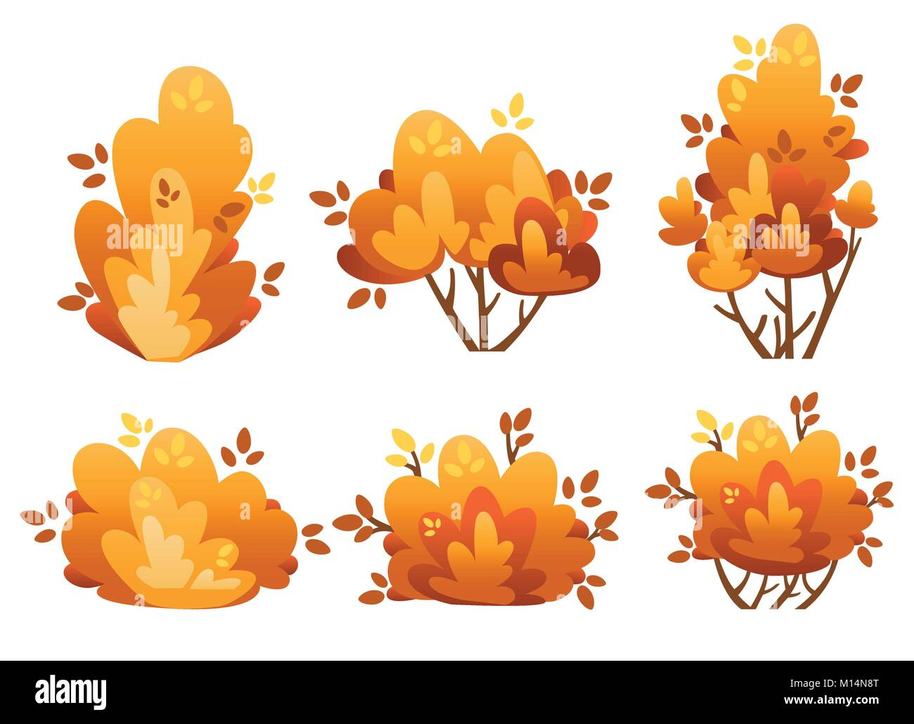 Set of natural bush and garden trees for park cottage and yard vector illustration isolated on white background - Stock Image
