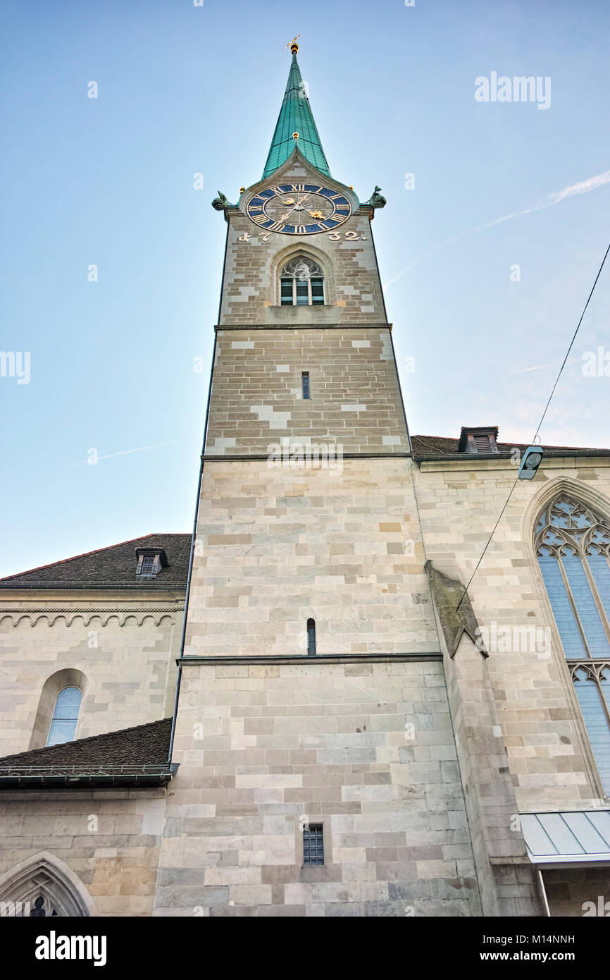Bell Tower of Fraumunster Church, city of Zurich, Switzerland - Stock Image