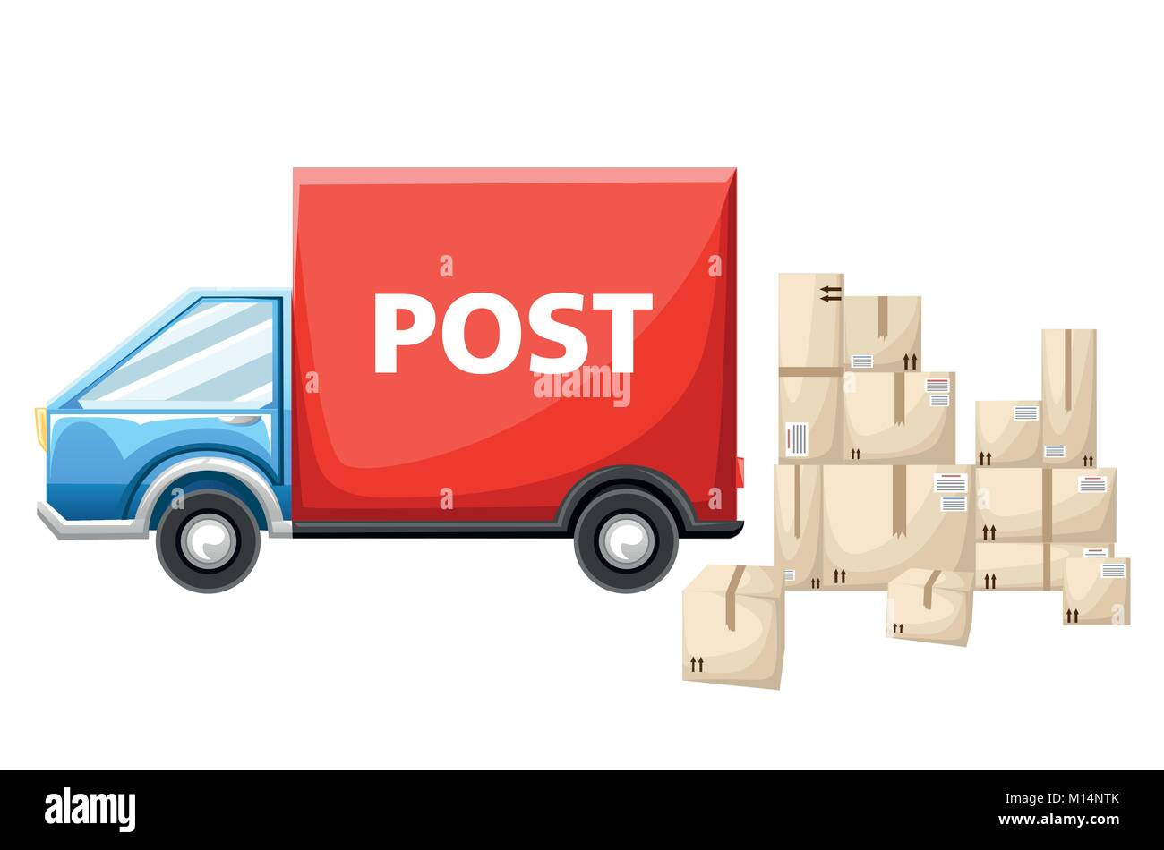 Blue postal car with parcels box vector illustration isolated on white background website page and mobile app design. - Stock Image