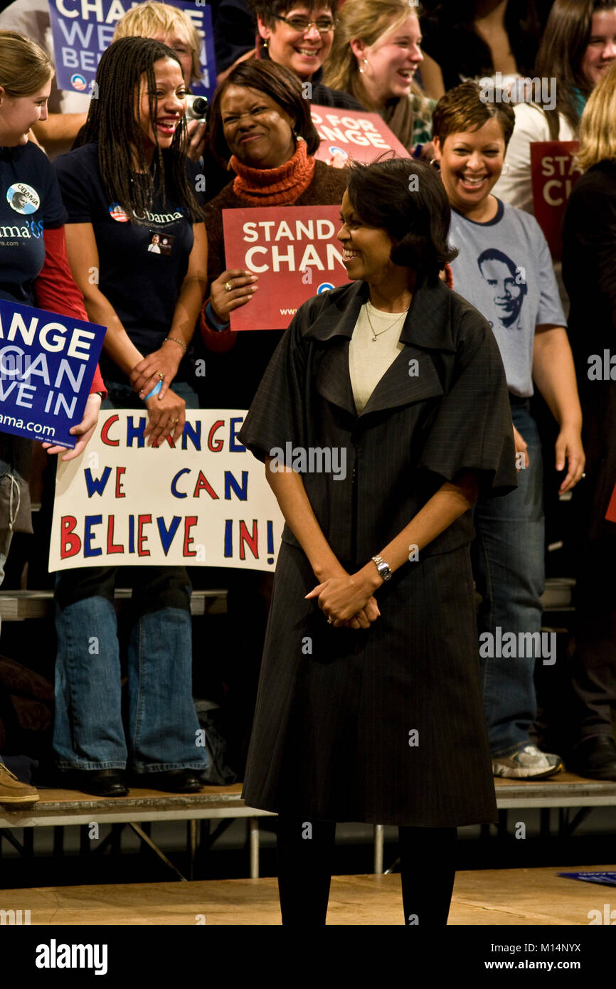 A campaign rally in Columbia, South Carolina, for then Senator, and candidate for President of the United States, Stock Photo