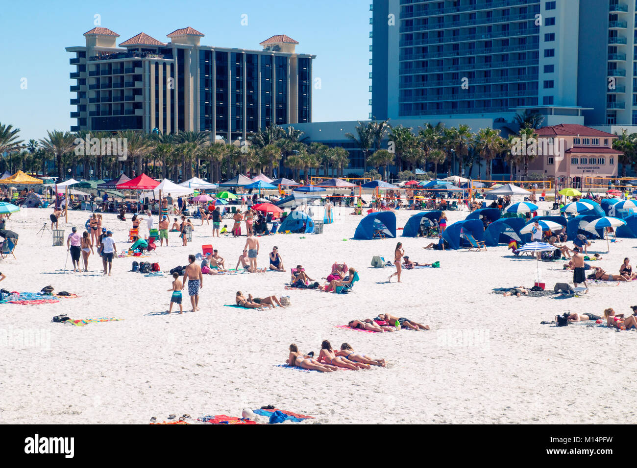 Beach holiday scene, tropical sandy beach Clearwater beach Florida, people relaxing and having fun on the beach, Stock Photo