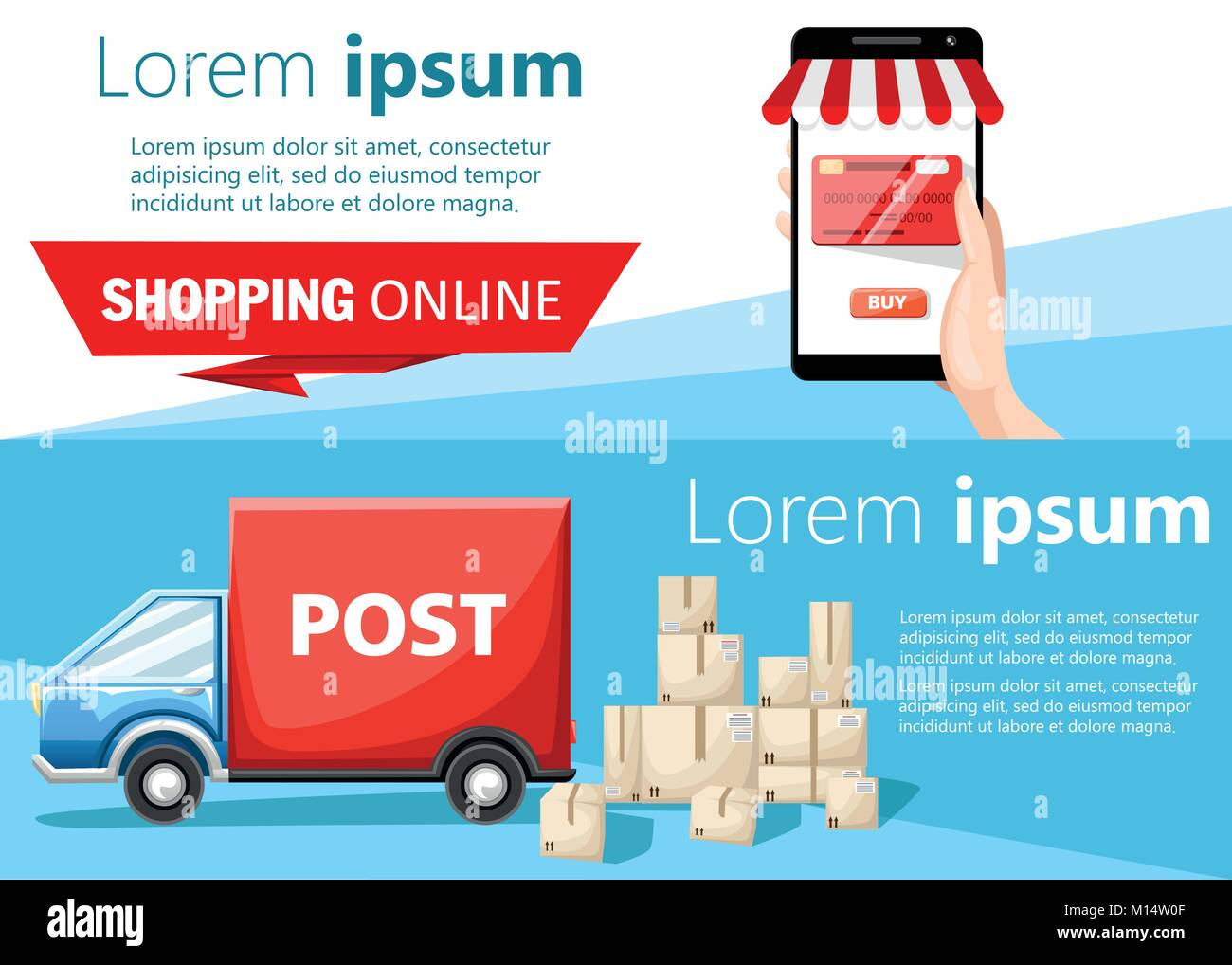 Shopping online and blue postal car with parcels box vector illustration on white and blue background with place - Stock Image