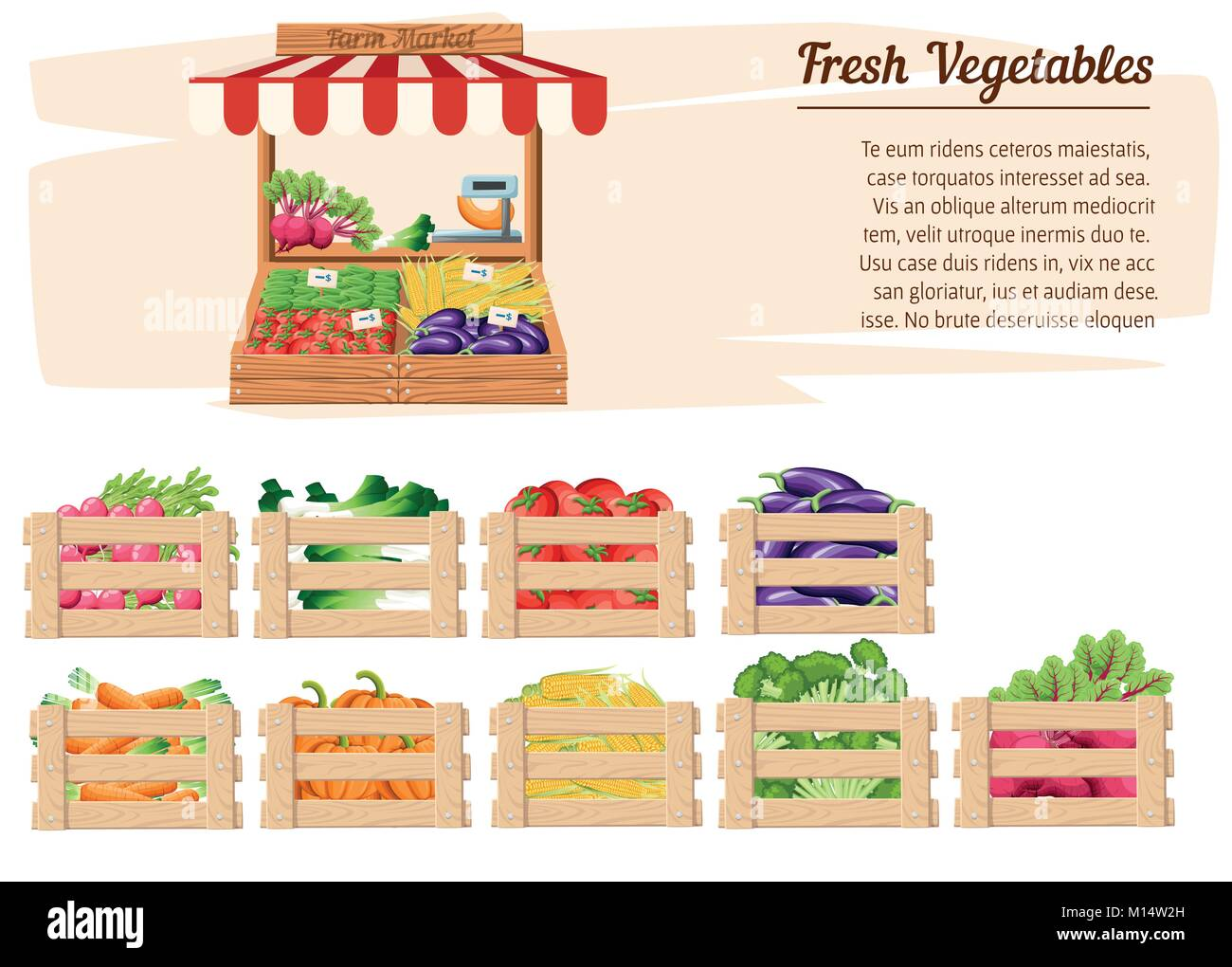 Front view market wood stand with farm food and vegetables in open box vector with weights and price tags with place Stock Vector
