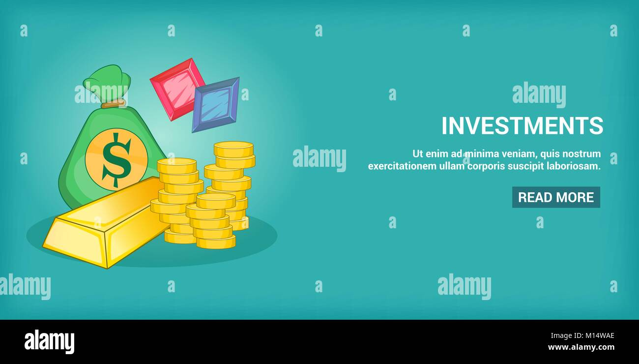 Investments banner horizontal, cartoon style - Stock Image