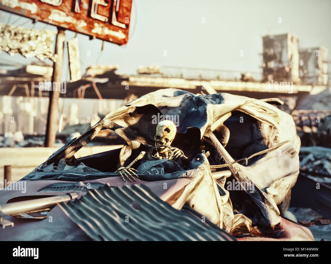Skeleton in the car .Ruins of a city highway. Apocalyptic landscape.3d illustration concept - Stock Image