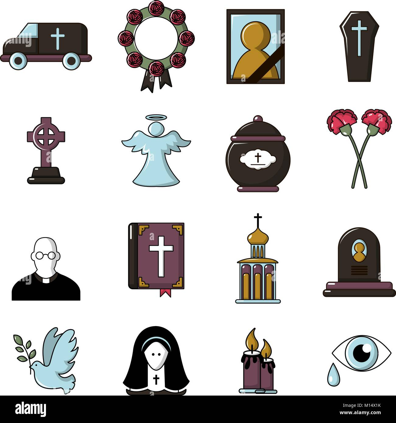 Funeral ritual service icons set, cartoon style - Stock Vector