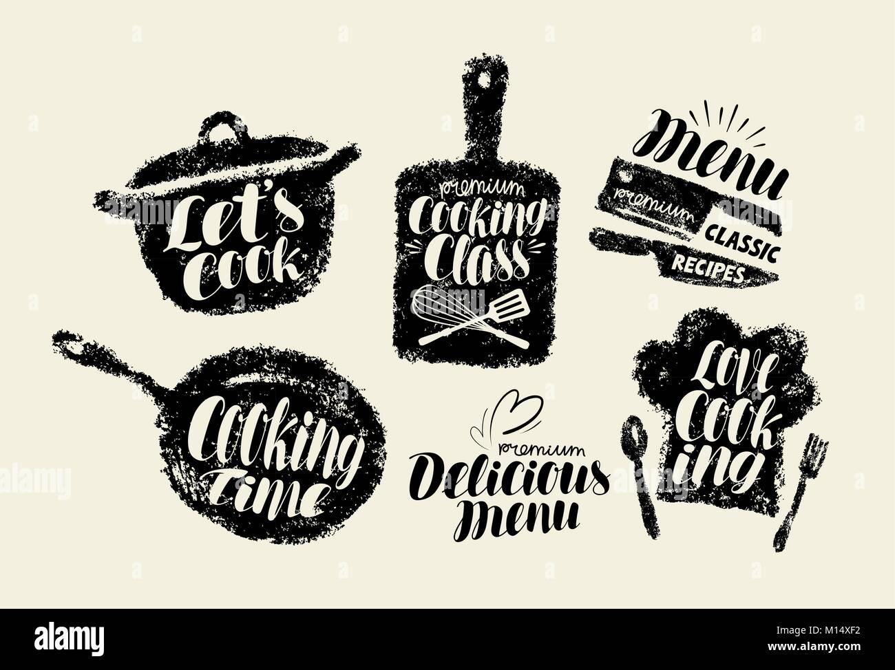Cooking, cuisine label set. Cookery, kitchen utensils, kitchenware typography. Lettering vector illustration - Stock Vector