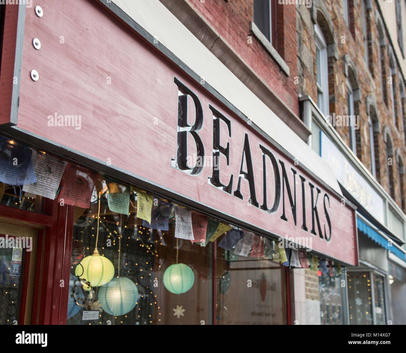 A store selling beads in Brattleboro, Vermont - Stock Image