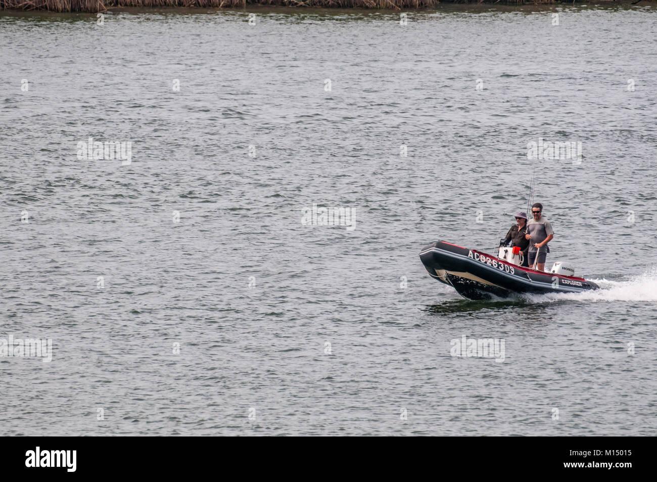 boat sailing on the river Ebro with tourists , Ebro Delta, Tarragona, Catalonia, Spain Stock Photo