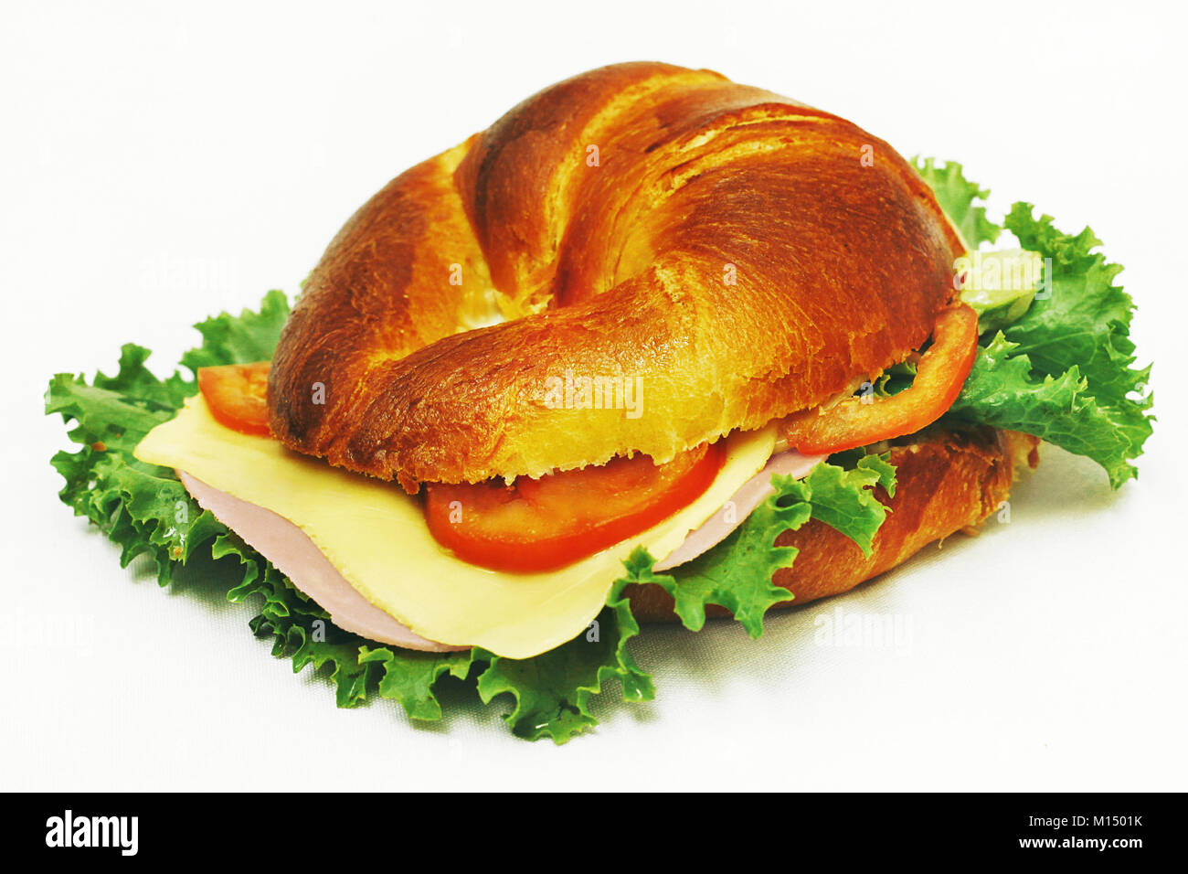 croissant ham and cheese - Stock Image