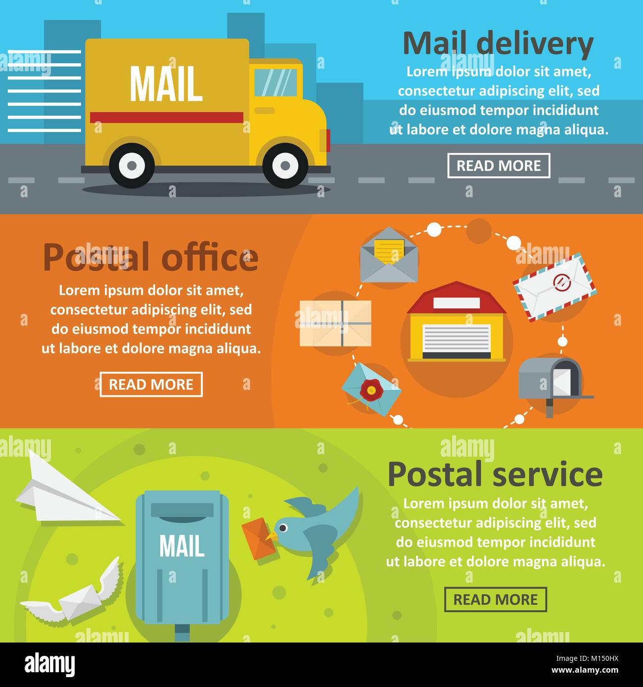 Postal delivery banner horizontal set, flat style - Stock Vector