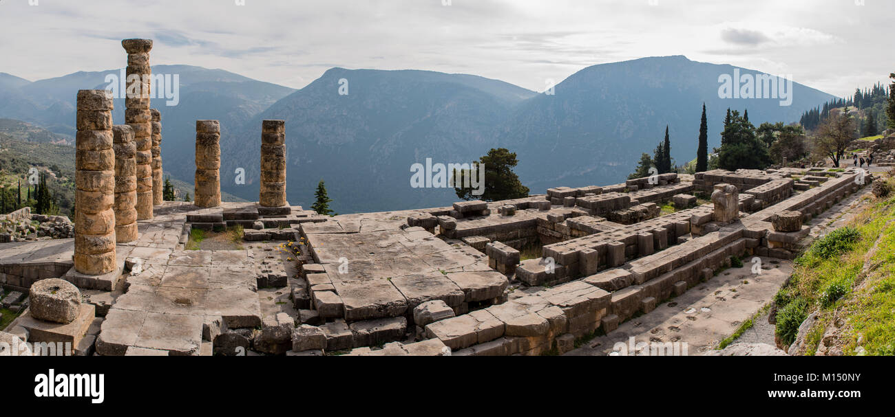 Apollo Temple in Delphi, an archaeological site in Greece, at the Mount Parnassus. Delphi is famous by the oracle - Stock Image