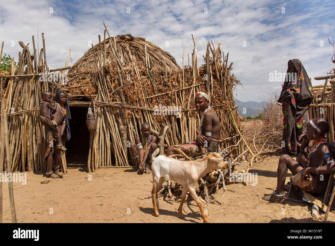 Ethiopia, Lower Omo Valley listed as World Heritage by UNESCO, Erbore tribe, The huts Erbore are made of papyrus - Stock Image