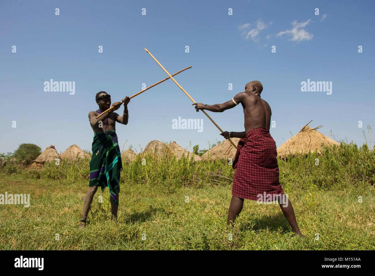 Ethiopia, Lower Omo Valley listed as World Heritage by UNESCO, Mursi tribe, The Donga tournament, duel with poles - Stock Image