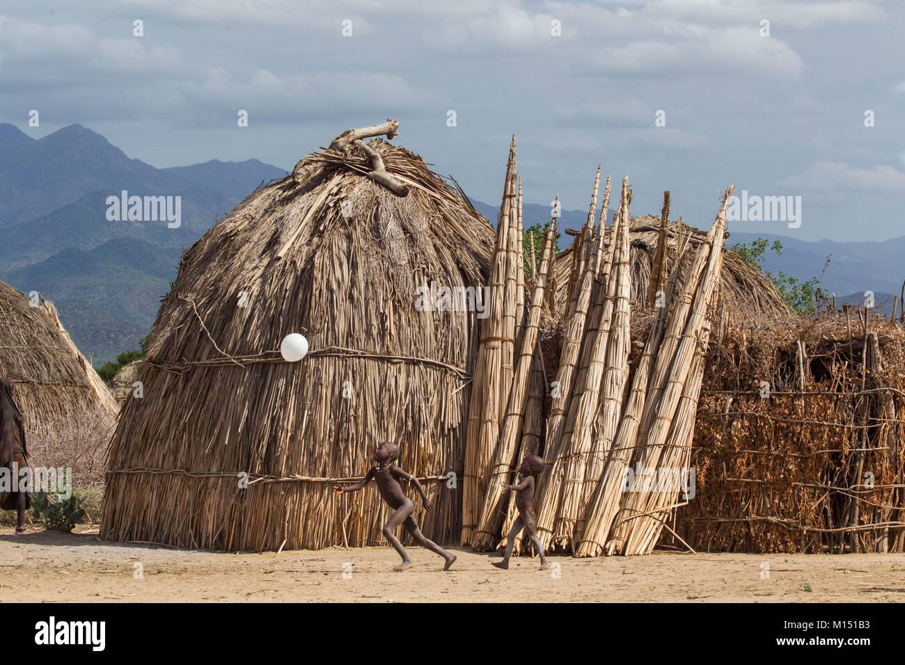 Ethiopia, Lower Omo Valley listed as World Heritage by UNESCO, Erbore tribe, children playing football - Stock Image