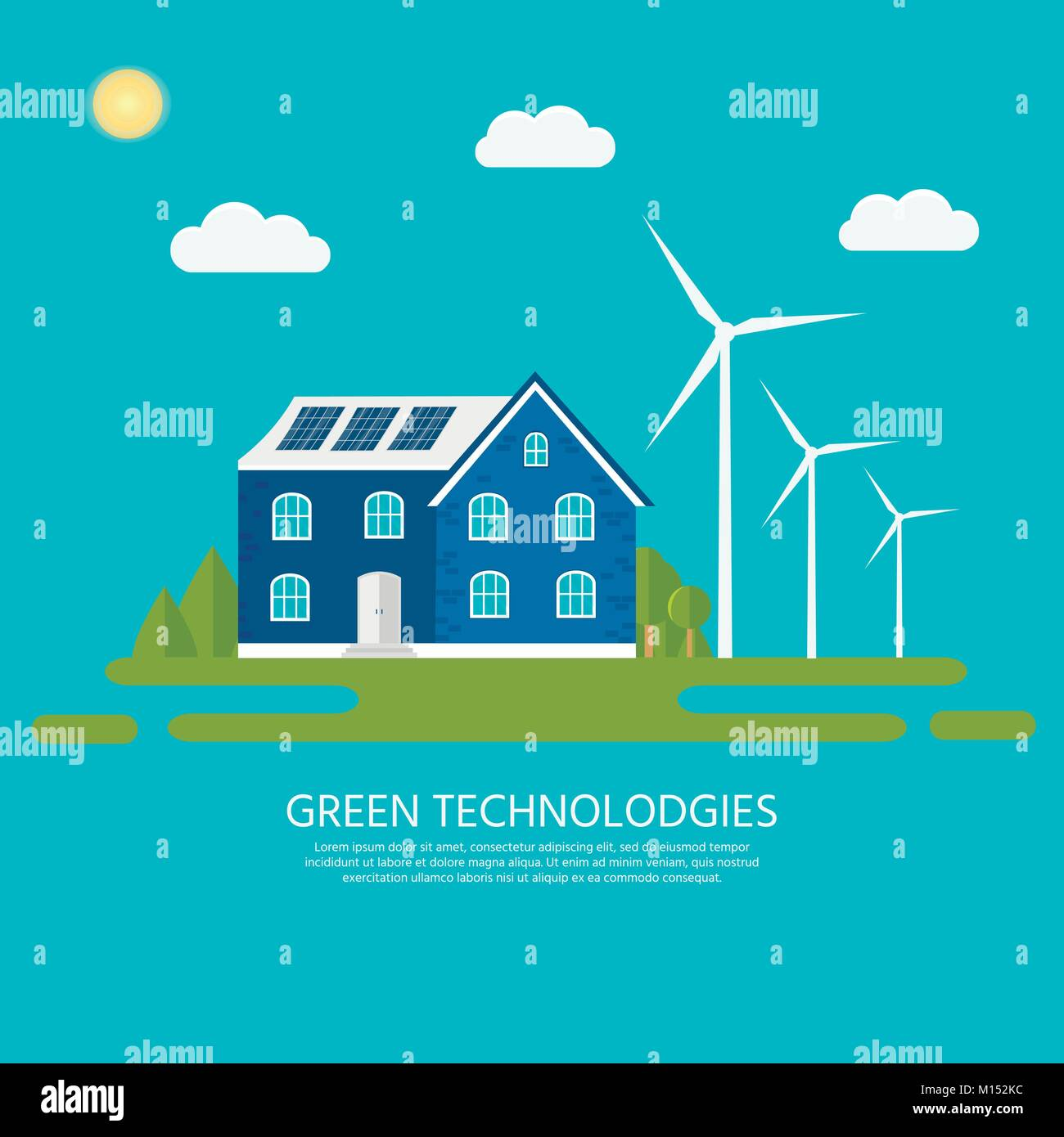Green modern house with solar panels and wind turbine. Eco friendly alternative energy. Ecosystem infographics. - Stock Vector