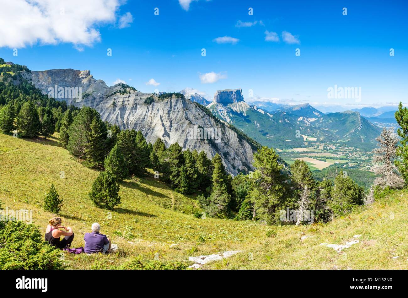 France, Isere, Vercors Regional Natural Park, hiking in the National Nature Reserve of the Vercors Highlands, view Stock Photo