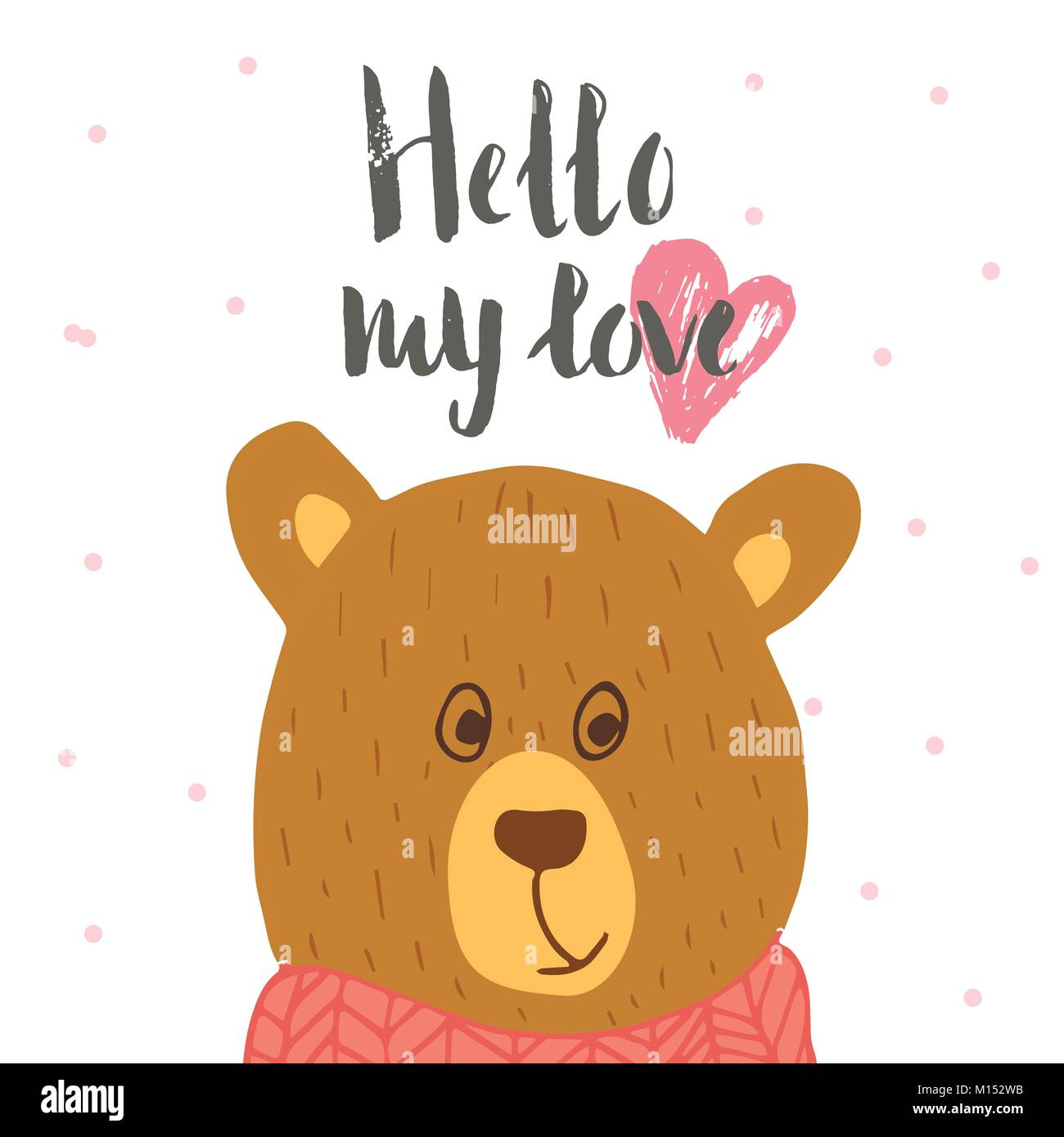 Lovely Valentines Day Gift Card With Teddy Bear Heart And Lettering Hello Love Calligraphy Hand Drawn Design Elements For Print Poster Invitation
