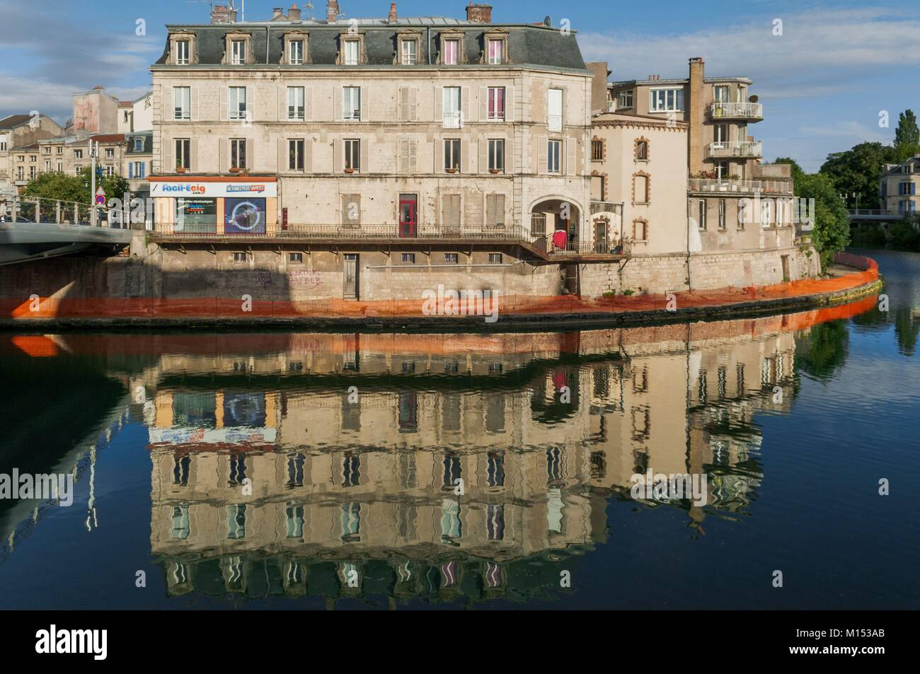 France, Meuse, Verdun, River Saint Vanne and Canal de l'Est to the affluence of the Meuse - Stock Image