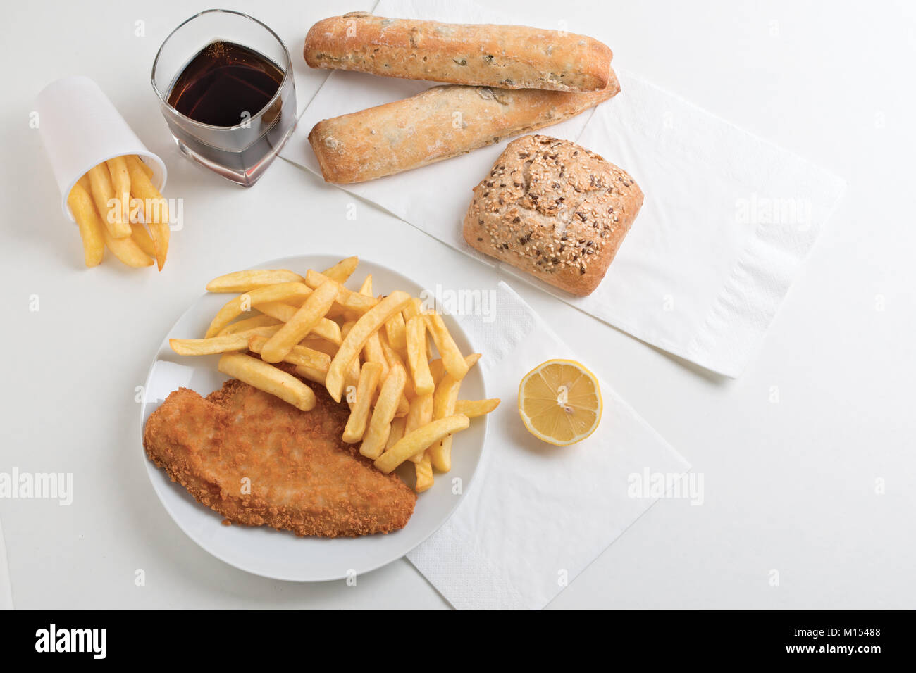 fish and chips from above 2 - Stock Image