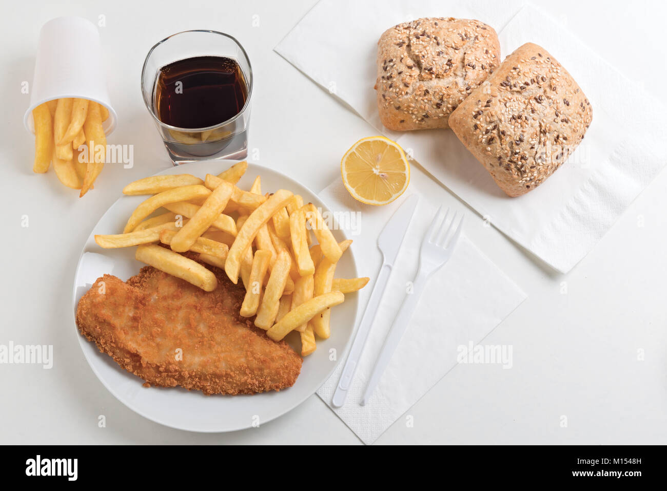 fish and chips from above 4 - Stock Image