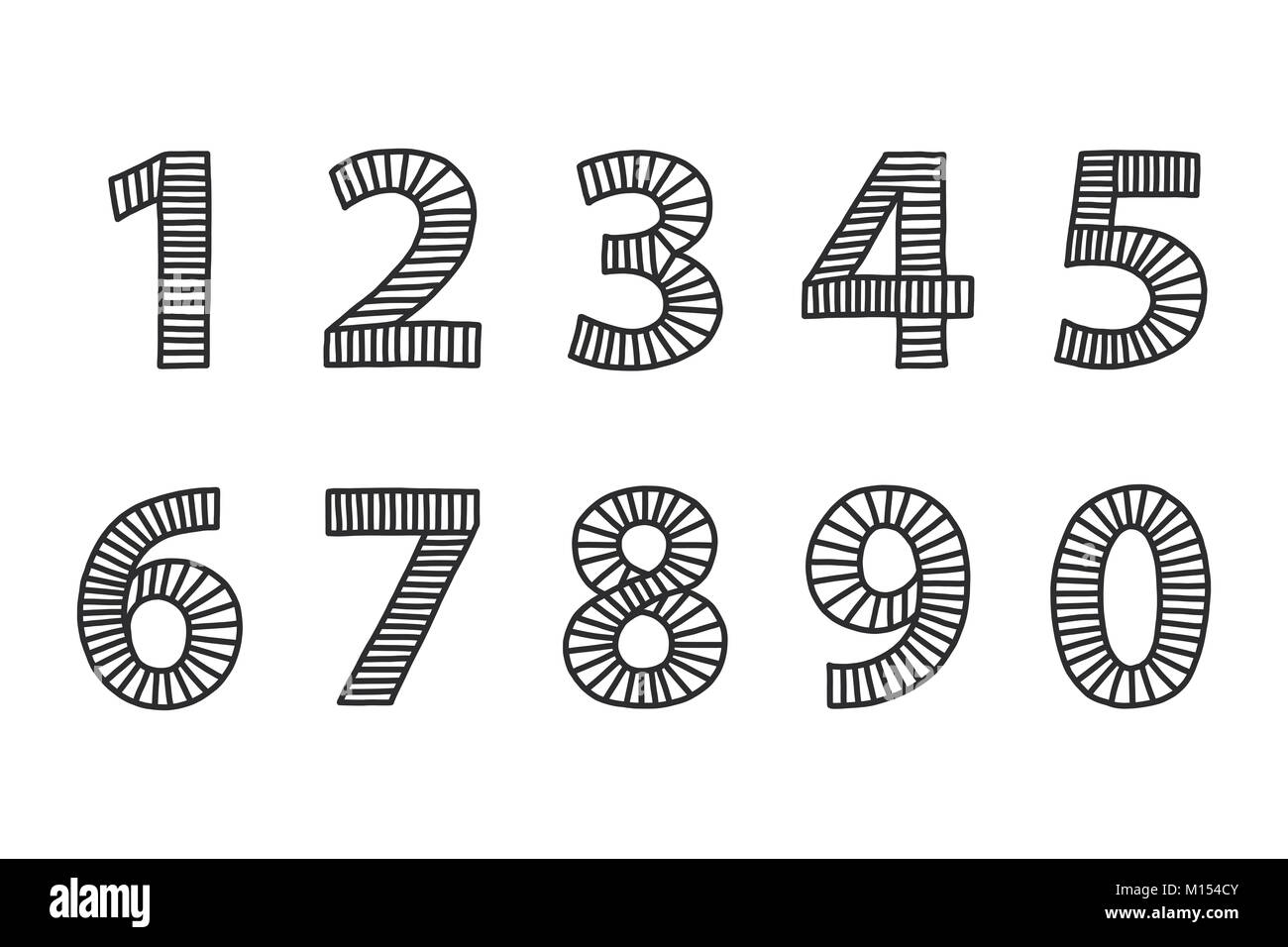Freehand drawn numbers from one to zero. Set in black outlines, filled with lines in even distances. Loose appearance. - Stock Image