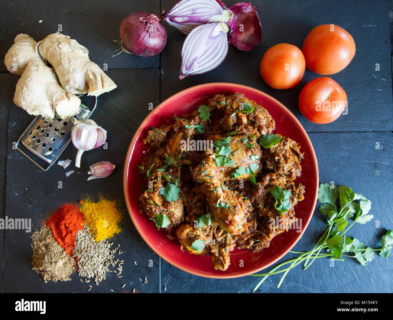 Food photography: Chicken Daag mein murgh recipe, - Stock Image