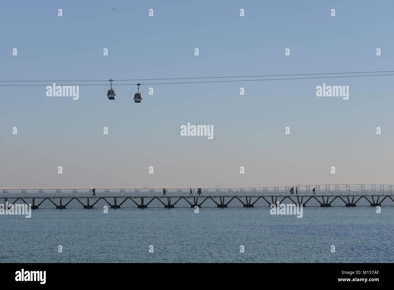 Telecabina on Tago River, Lisbon, Portugal, December 2017 - Stock Image