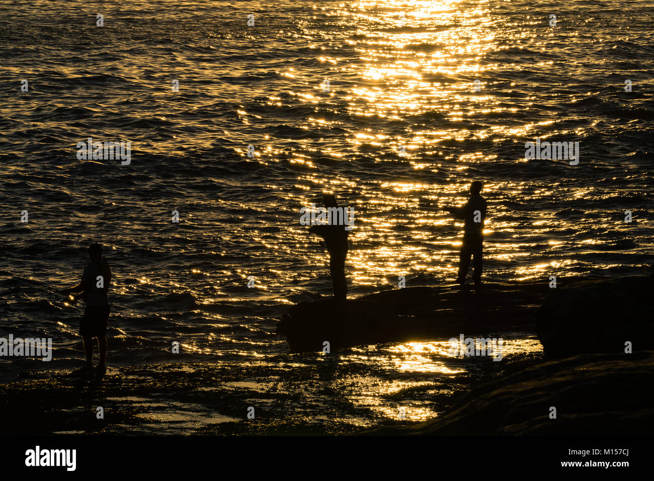Fishermans's Silhouette - Stock Image