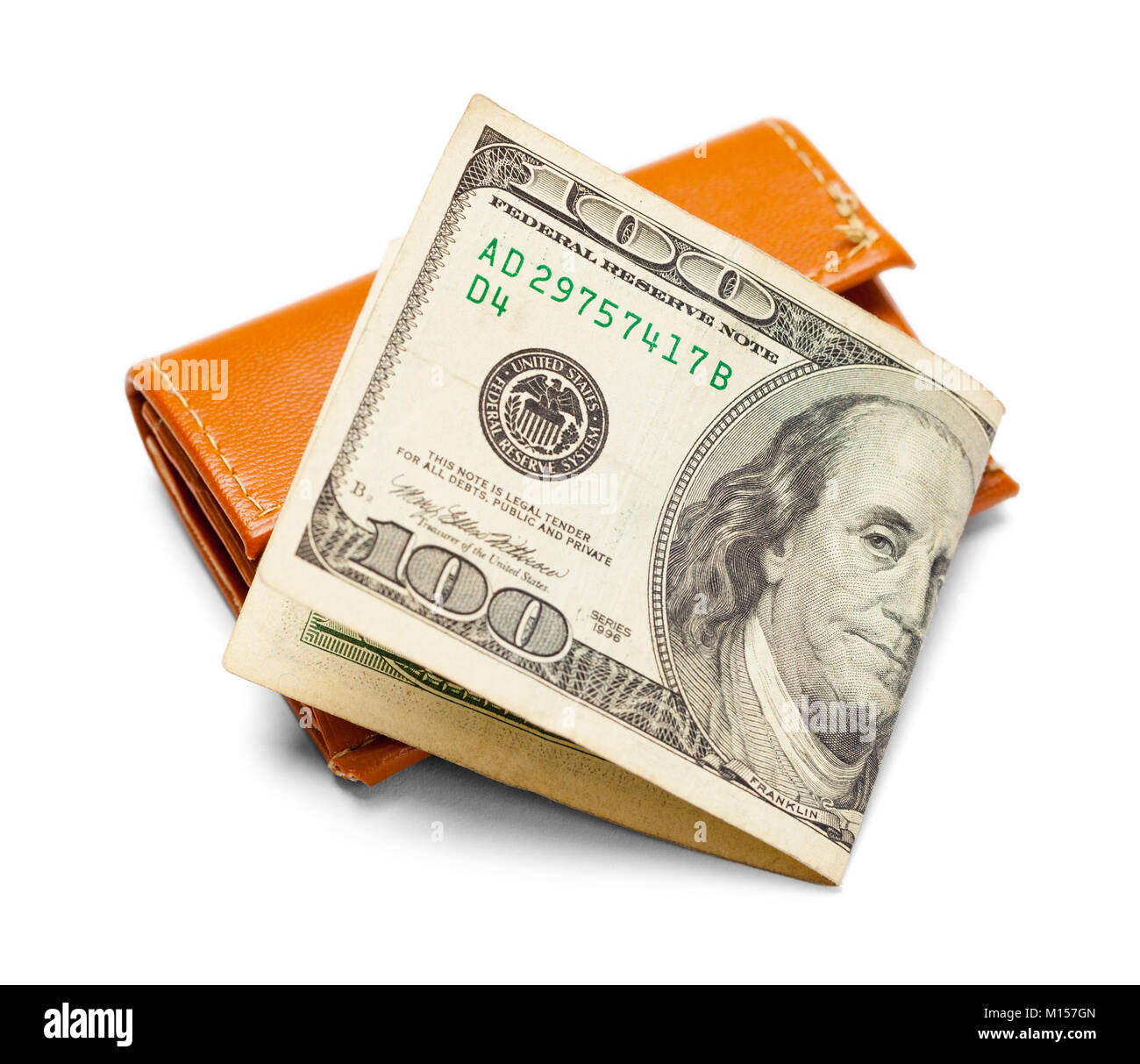 Hundred Dollar Bill and Wallet Isolated on a White Background. - Stock Image