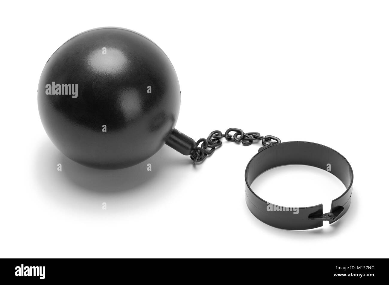 Costume Ball and Chain Isolated on a White Background. - Stock Image