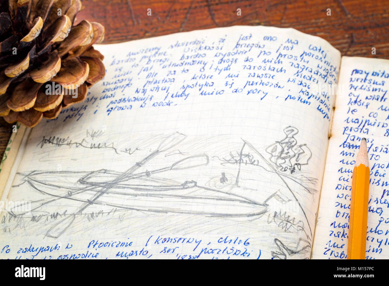 kayak expedition journal handwriting and drawing in pencil travel log from paddling trip across north eastern poland written by me photographer i