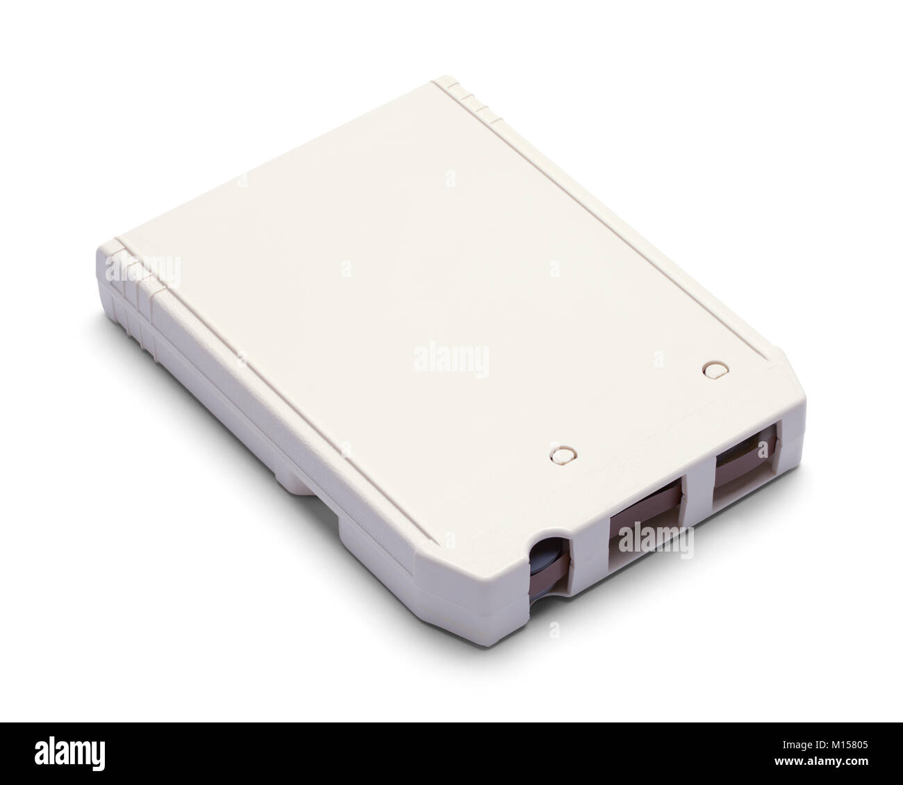 White Eight Track Cassette Tape Isolated on a White Background. - Stock Image