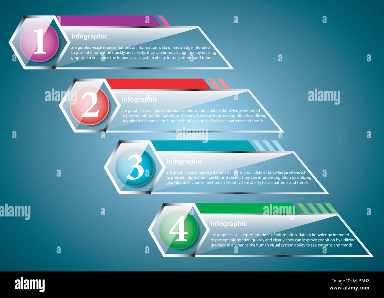 transparent infographic banner with multiple optional choice - Stock Image