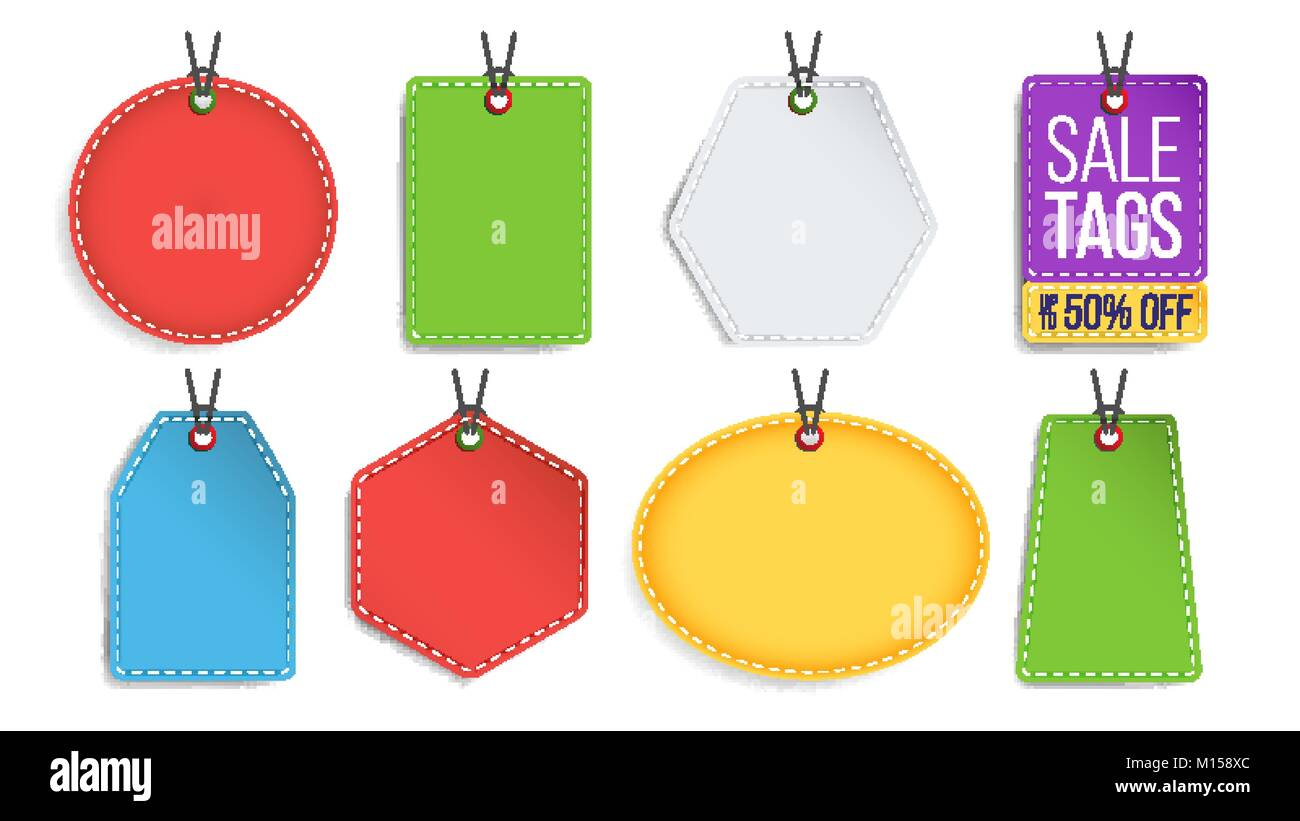 sale tags blank vector color empty shopping discounts stickers template discount hanging banners set promotion illustration