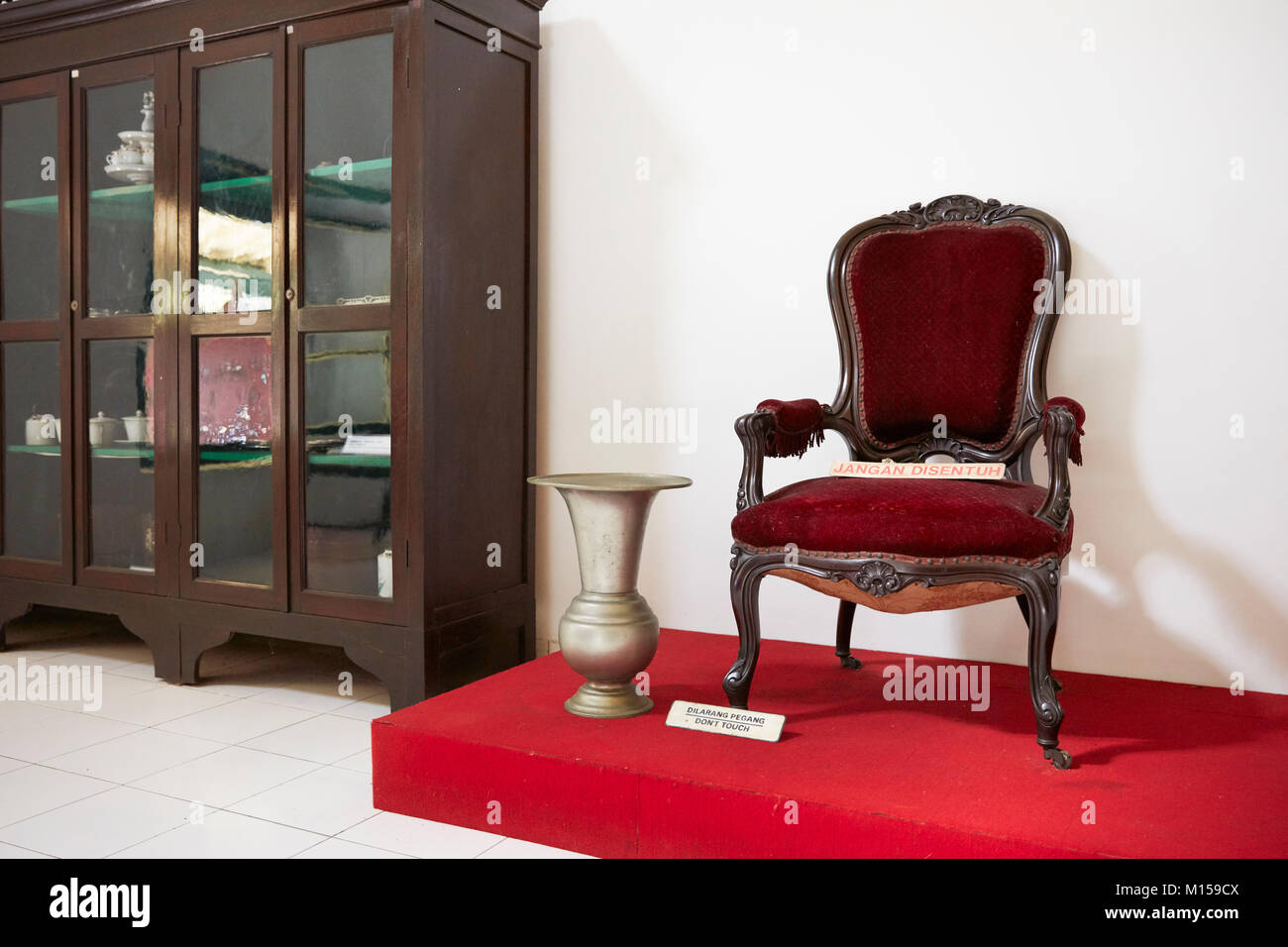 Armchair displayed in the Kraton of Yogyakarta (Keraton Ngayogyakarta Hadiningrat), Sultan's palace complex. - Stock Image