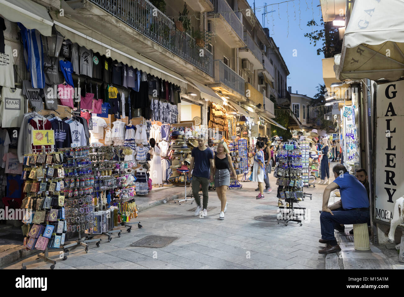 Tourist shops along Adrianou in the Plaka area in early evening, Athens, Greece, Europe - Stock Image