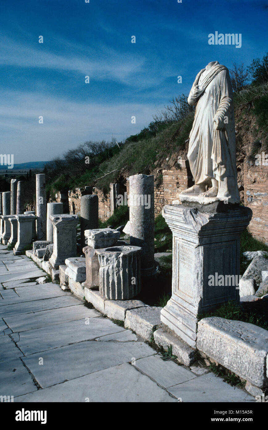 Classical Greek and Roman Sculptures or Statues & Pedestals Line Curetes Street at Ephesus, Selçuk, Turkey Stock Photo
