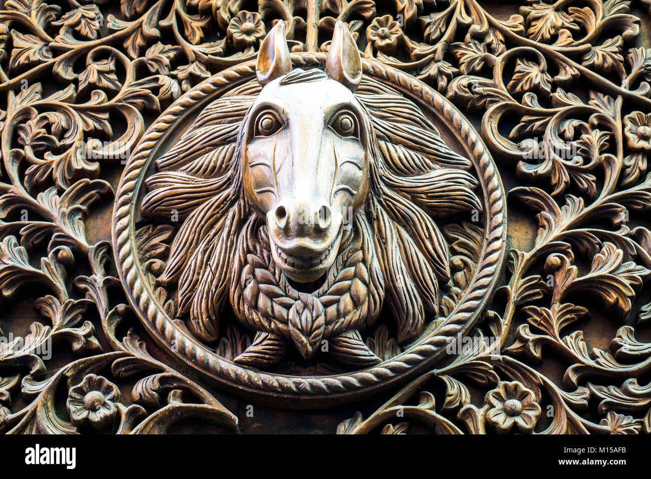 Horse Head Wood Carving At The Stable Market In Camden Town London Stock Photo Alamy