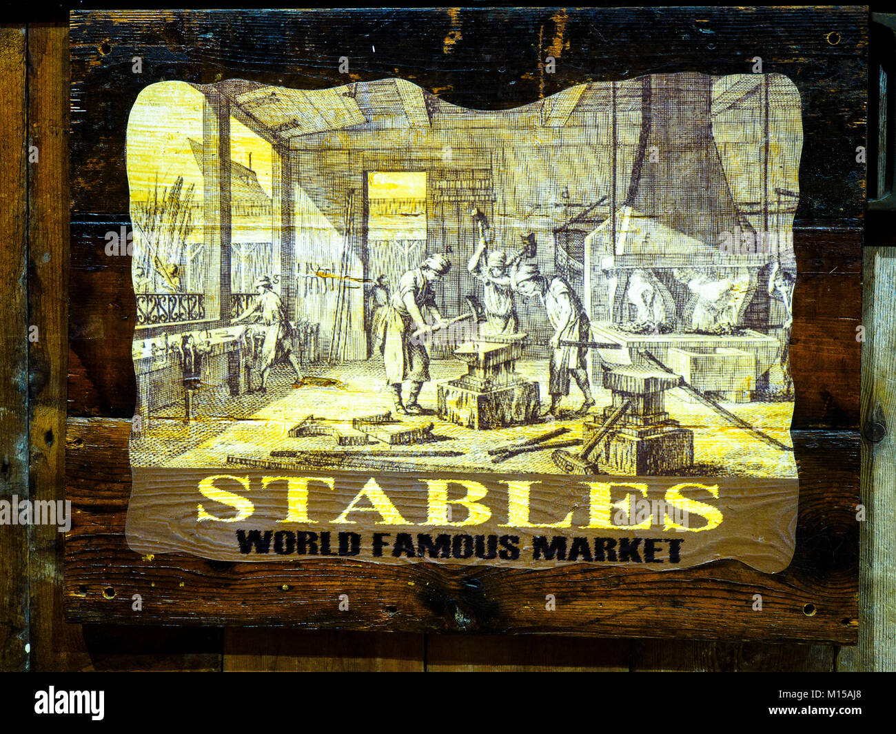 Wooden sign of the Stables Market in Camden Town - London, England - Stock Image